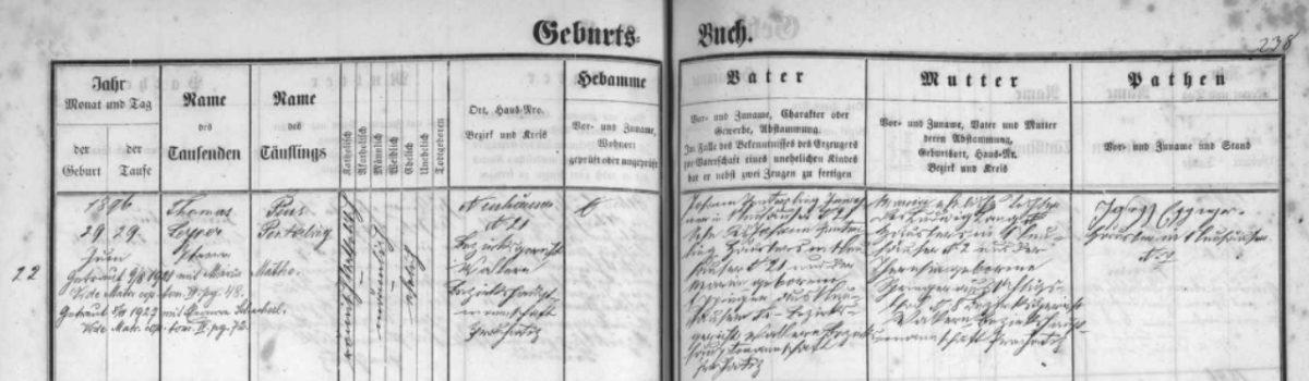 Geburtsbuch Schönau 1896